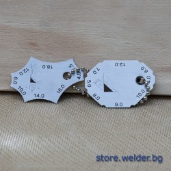 Шаблони (2) за катет и височина на заваръчни шевове 4 - 16 мм.